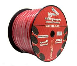 Audiopipe 100ft 0 Gauge Red Power Ground Wire Cable Roll Cop