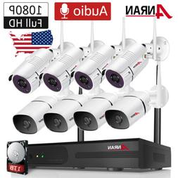 ANRAN 1080P 8CH Wireless Home Security Camera System Audio C