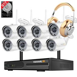 1080P 8CH NVR Wireless Security Camera System Outdoor Wifi H