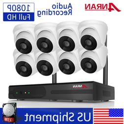 8CH 1080P Wireless Audio Record Home Security Camera System