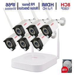 Tonton 1080P Wireless CCTV System 8CH NVR WIFI IP Camera Aud