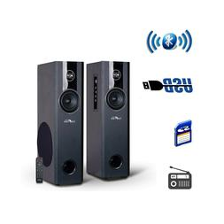 2.1CH BLUETOOTH POWERED TOWER SPEAKERS FM RADIO USB MP3 PLAY