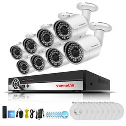 8Channel 1080P Audio POE Security Camera System CCTV Outdoor