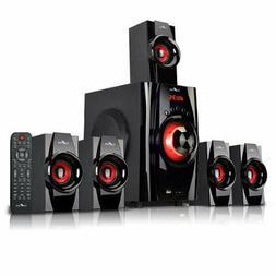 Red 5.1 Channel Surround Sound Bluetooth Speaker System Home