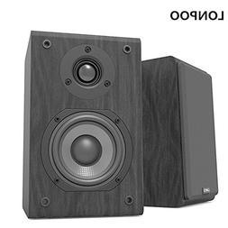 LONPOO Bookshelf Speaker Passive Pair 2-Way 75W2 Classic Woo