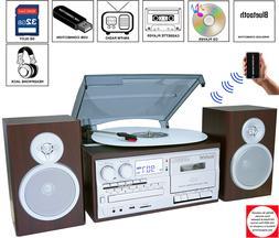 NEW Boytone BT-28SPS Bluetooth Turntable Stereo System CD Ca