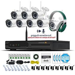 Jennov 8 Channel CCTV Wireless Bullet Security IP Camera Sys