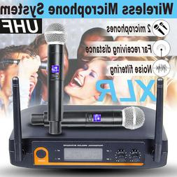Home LED 2 Channel Pro Audio UHF Wireless rophone System Dua