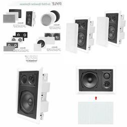 """IN-WALL  HOME AUDIO SPEAKERS WHITE PAIR NEW PYLE 8"""" 800w ENC"""