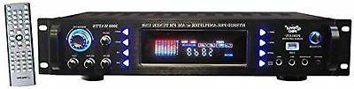 4-Channel Audio Amplifier 3000 Watt Stereo Receiver w/Speaker AM Radio, Headphone, Microphone Input Great for Karaoke and Home Pyle