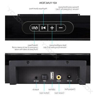 40W Home Surround TV Sound Wireless Soundbar w/ Built-in Subwoofer