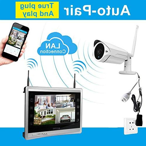 Luowice Audio Wireless Monitor 4CH Video Surveillance System in 1TB Drive Indoor Outdoor HD CCTV WiFi Cameras with