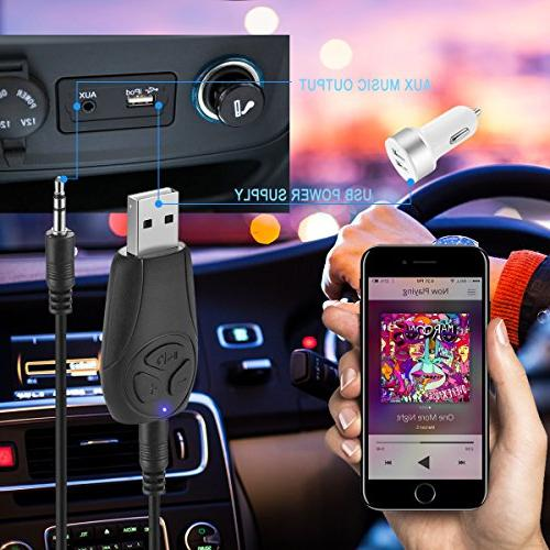 USB Bluetooth 4.2 Receiver 3.5mm aux Input Jack Adapter Portable Hands-free Calling Music Streaming Car Kits Built-in Mic MP3 Player Decoding tf Card Reader for PC//Automotive//Home Audio Stereo System JUNAN 4336302223