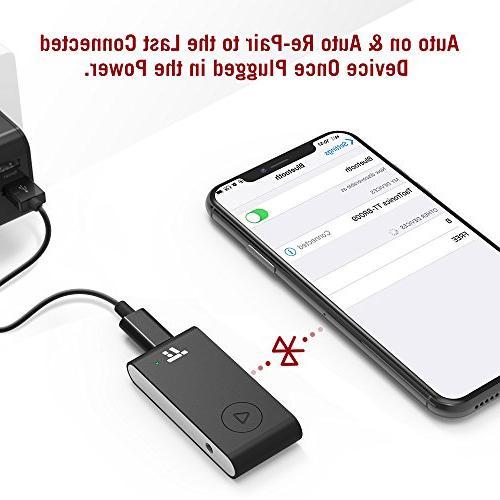 TaoTronics Bluetooth Adapter, APTX 15 Hour Hands-Free Car Wireless Bluetooth Auto to Power
