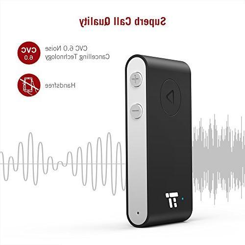 TaoTronics Bluetooth APTX Bluetooth Receiver, 15 Hands-Free Car Bluetooth 4.2 Adapter, Auto on to