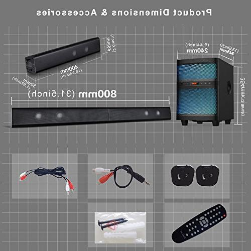 LuguLake TV bar System with Subwoofer, Bluetooth, Floor Lights, Reader, Remote Control