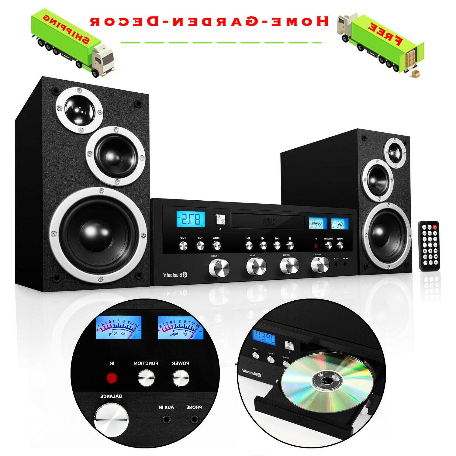 CD Bluetooth Stereo Speaker System Compact Home Audio FM Rad