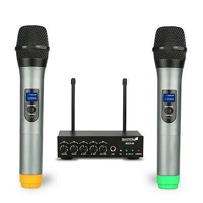Fifine Dual Channel Wireless Handheld Microphone,easy-to-use handheld wirele