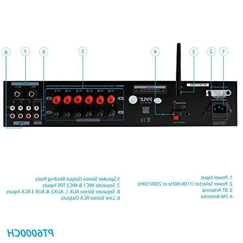 Wireless Bluetooth System Powered Rack Surround Sound Audio Box w/RCA, AUX - for Theater -