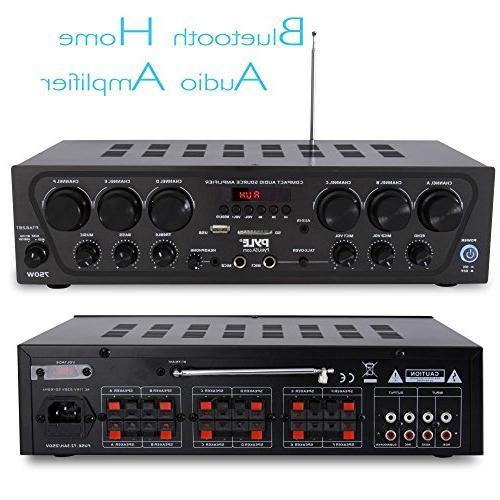 Upgraded Wireless Bluetooth Karaoke 750 Home Sound Receiver Amplifier w/ USB, 2 Input w/ Echo, - Pyle PTA62BT