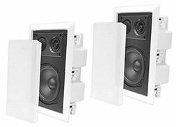 """PAIR NEW PYLE 8"""" 800w IN-WALL WHITE HOME AUDIO SPEAKERS ENCL"""