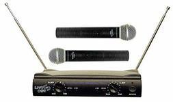 Pyle Pro Dual VHF 2 Mics Wireless Microphone System Audio Ca