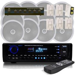 NEW Pyle 6 Channel Speaker System Wall Volume Control Blueto