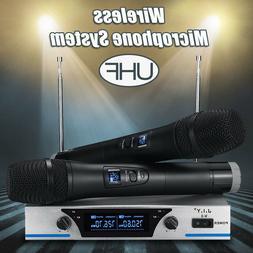 UHF Wireless Microphone System Audio Dual Handheld LCD 2 Cha